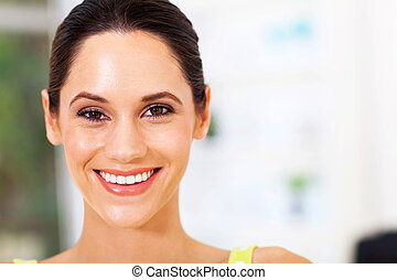 attractive young woman face closeup