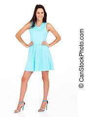 woman in blue dress full length portrait