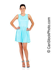 woman in blue dress isolated on white