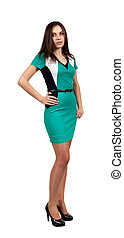 Attractive Young Woman in Green Dress