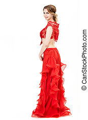 attractive young woman in red dress on white background