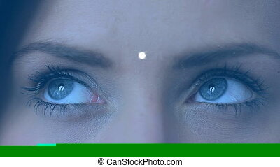 Attractive young woman looking at digital globe