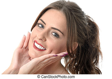 Attractive Young Woman Massaging Face