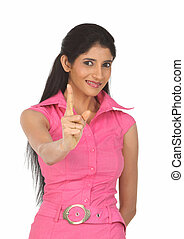 young woman pointing her finger
