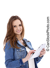 Attractive young woman using a tablet