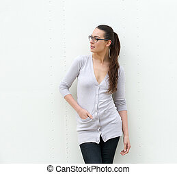 Attractive young woman wearing glasses