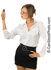 Attractive young woman with a phone