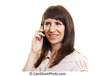 Attractive young woman with a phone on an isolated white
