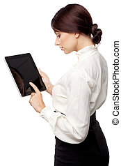 Attractive young woman with a tablet pc