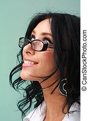 woman with glasses close up