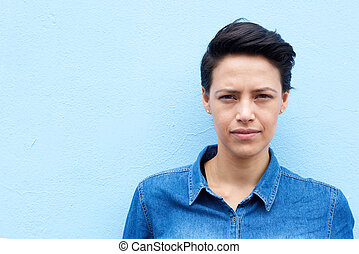 Attractive young woman with short hair