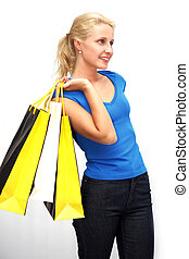 attractive young woman withl shoppingbags