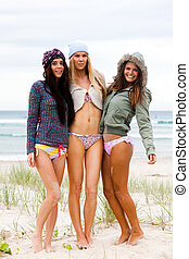 Attractive Young Women at the Beach