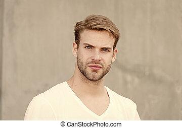 attractiveness., estate, unshaved, uomo barbuto, grigio, maschio, elegante, amore, fashion., casuale, faccia, man., yourself., macho, ritratto, giovane, stile, non rasato, hairstyle., fondo., studente, sexy, tipo