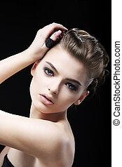 attractiveness., femininity., bámulatos, barna szőr, girl., tiszta, szépség