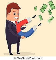 attracts, chance, argent, homme affaires, aimant, vecteur, utilisation