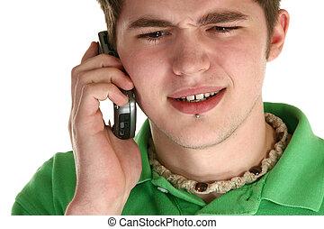 attraente, adolescente, con, cellphone