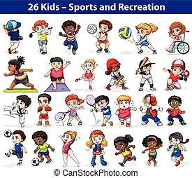 attraente, attività, differente, bambini