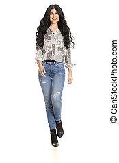 attraente, bianco, donna camminando, jeans