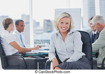 attraente, boardroom, proposta, donna d'affari