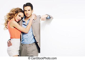 attraente, coppia, promuovere, vendite, giovane