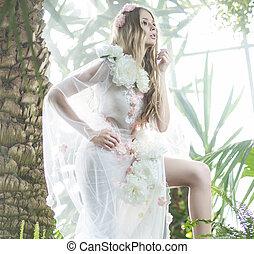attraente, delicato, foresta, pioggia, donna