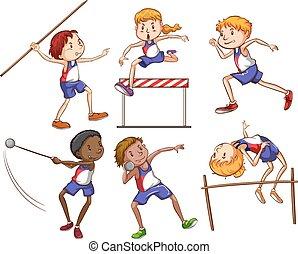 attraente, differente, bambini, sport esterni