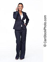 attraente, donna d'affari, su, telefono mobile