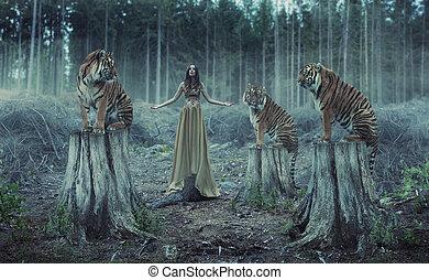attraente, femmina, allenatore, con, il, tigri