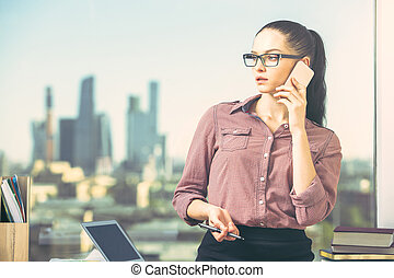 attraente, femmina, telefono