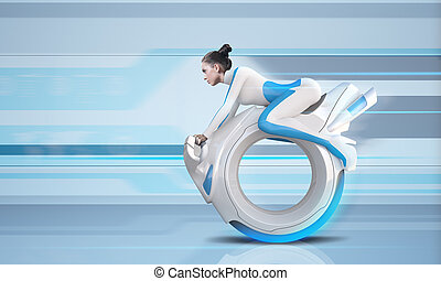 attraente, futuro, cavaliere bicicletta, -, futuro,...