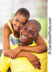 attraente, giovane, africano, coppia