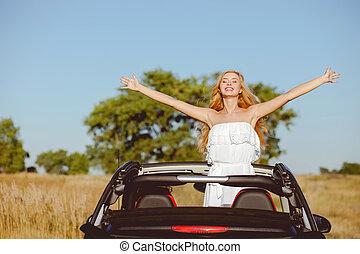 attraente, giovane, coppia amorosa, è, viaggiare, vicino, automobile