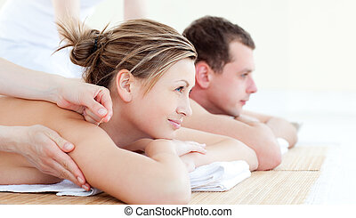 attraente, giovane coppia, detenere, un, acupunctre, terapia