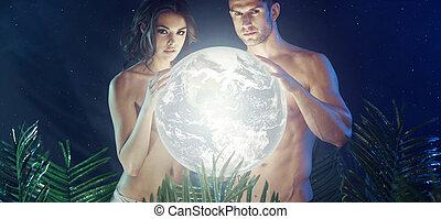 attraente, giovane coppia, presa a terra, baluginante, terra