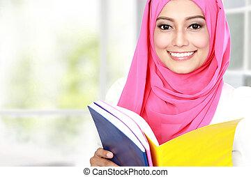attraente, giovane, studente, studiare
