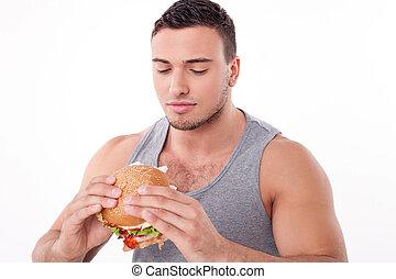 attraente, giovane, tipo, è, rifiutare, mangiare, cibo malsano