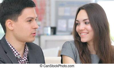 attraente, professionale, coppia, consulta, circa, loro, affari, progetto