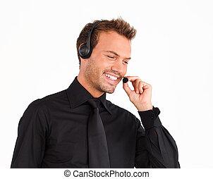attraente, rappresentante, cliente, uomo, servizio