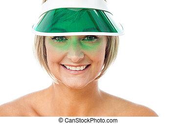 attraente, signora, il portare, berretto