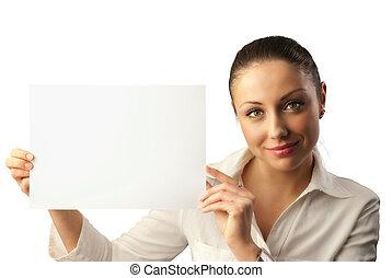 attraktiv, affärskvinna, avskrift, ung, utrymme