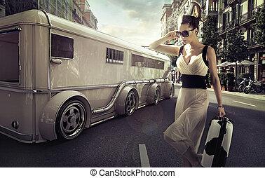 attraktiv, affärskvinna, limousine, nästa