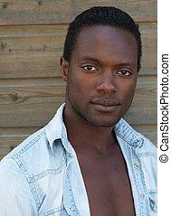 attraktiv, african amerikansk man, betrakta kamera