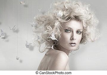 attraktiv, blond, skönhet, med, origam