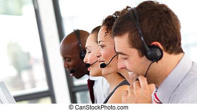 attraktiv, centrera, arbete, ringa, affärskvinna