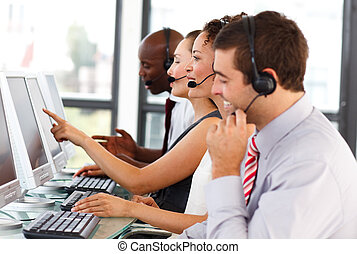 attraktiv, centrera, arbete, ringa, affärsman
