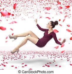 attraktiv, dam, somna, över, rosa kronblad, bakgrund