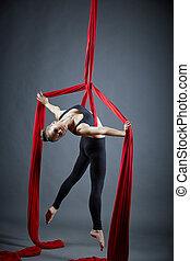 attraktiv, dansare, framställ, med, antenn, silks