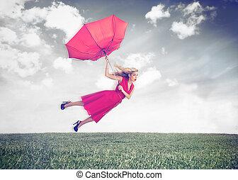 attraktiv, flygning, luft, kvinna