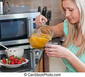 attraktiv, ha, hälsosam, kök, frukost, kvinna